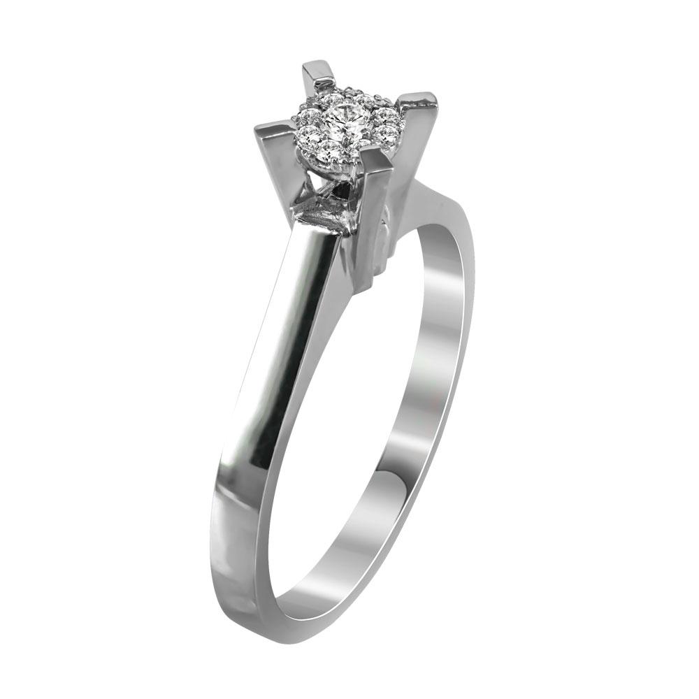 Μονόπετρο Δαχτυλίδι Με Διαμάντια Brilliant Από Λευκόχρυσο Κ18 R28352