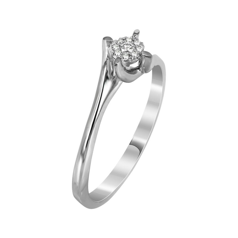 Μονόπετρο Δαχτυλίδι Με Διαμάντια Brilliant Από Λευκόχρυσο Κ18 R28255