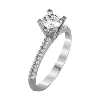 Μονόπετρο Δαχτυλίδι Με Διαμάντια Brilliant Από Λευκόχρυσο Κ18 R22118