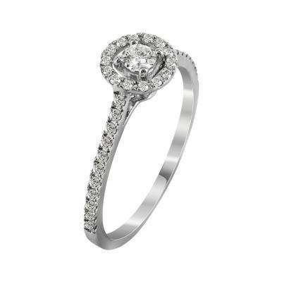 Μονόπετρο Δαχτυλίδι Με Διαμάντια Brilliant Από Λευκόχρυσο Κ18 R22789