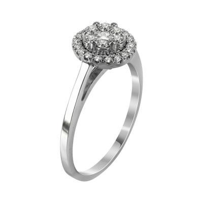 Μονόπετρο Δαχτυλίδι Με Διαμάντια Brilliant Από Λευκόχρυσο Κ18 R22830