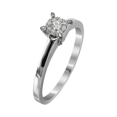Μονόπετρο Δαχτυλίδι Με Διαμάντια Brilliant Από Λευκόχρυσο Κ18 R23272