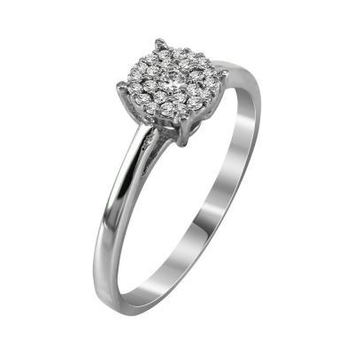 Μονόπετρο Δαχτυλίδι Με Διαμάντια Brilliant Από Λευκόχρυσο Κ18 R20171
