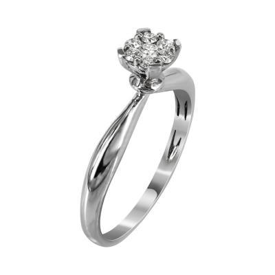 Μονόπετρο Δαχτυλίδι Με Διαμάντια Brilliant Aπό Λευκόχρυσο Κ18 R7582