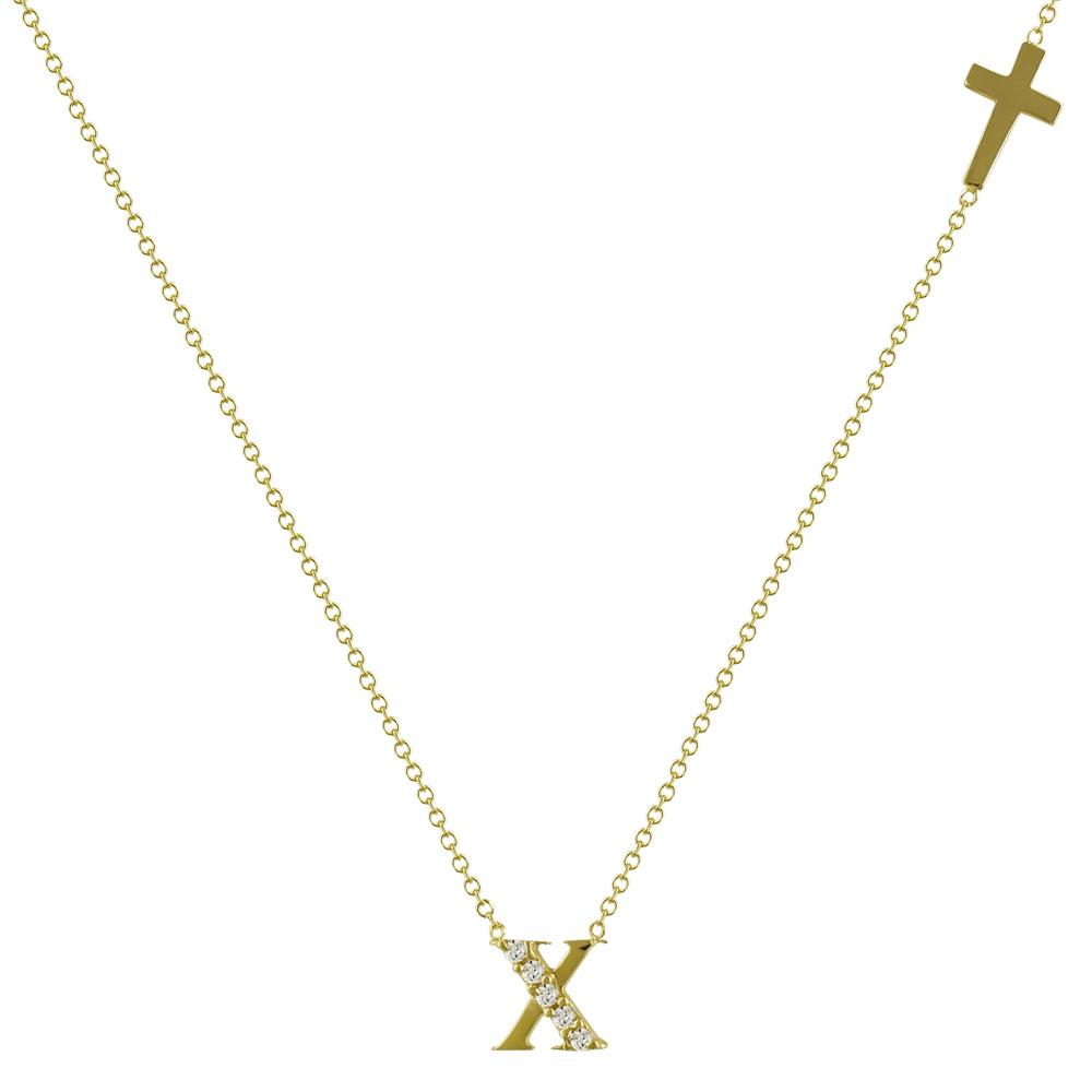 """Μενταγιόν Μονόγραμμα """"X"""" Από Κίτρινο Χρυσό Κ14 MG98298"""