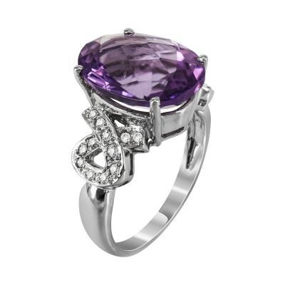 Μονόπετρο Δαχτυλίδι Με Αμέθυστο Και Διαμάντια Brilliant Από Λευκόχρυσο Κ18 DDX233