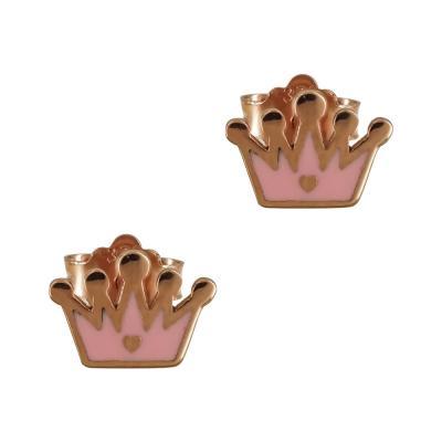 Παιδικά Σκουλαρίκια Με Κορώνα Από Ροζ Χρυσό Κ9 PSK382
