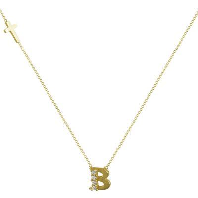 """Μονόγραμμα Μενταγιόν """"B"""" Από Κίτρινο Χρυσό Κ14 MG98300"""