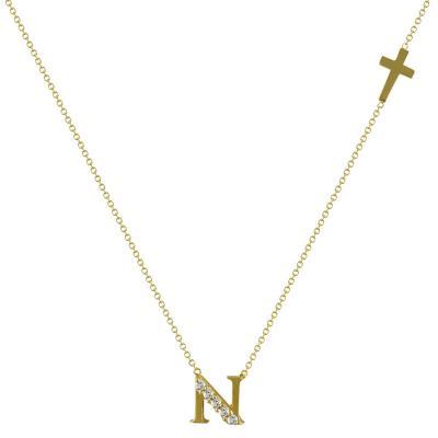 """Μενταγιόν Μονόγραμμα Από Κίτρινο Χρυσό """"N"""" Κ14 MG98297"""