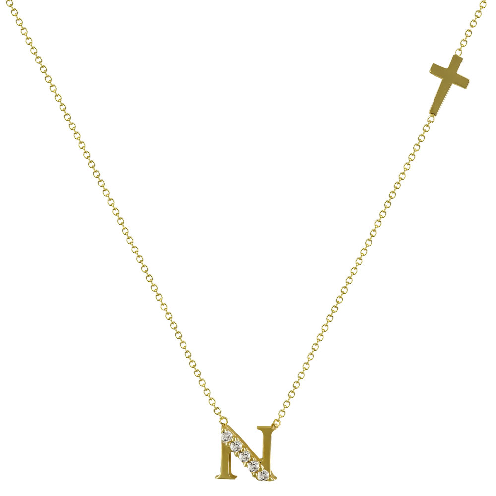 """Μενταγιόν Μονόγραμμα """"N"""" Από Κίτρινο Χρυσό Κ14 MG98297"""