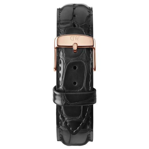 DANIEL WELLINGTON Classic Sheffield Black Leather Strap Rose Gold 20mm DW00200014
