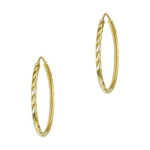 Σκουλαρίκια Κρίκοι Από Κίτρινο Χρυσό Κ14 SK760
