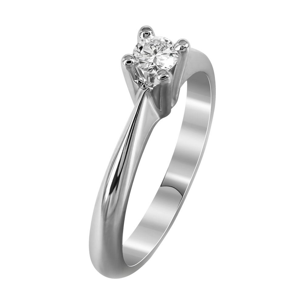 Μονόπετρο Δαχτυλίδι Με Διαμάντια Brilliant Από Λευκόχρυσο Κ18 DDX238