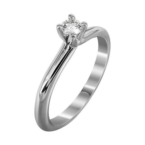 Μονόπετρο Δαχτυλίδι Με Διαμάντια Brilliant Από Λευκόχρυσο Κ18 DDX237
