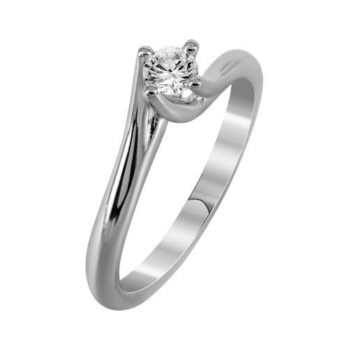 Μονόπετρο Δαχτυλίδι Με Διαμάντια Brilliant Από Λευκόχρυσο Κ18 DDX242
