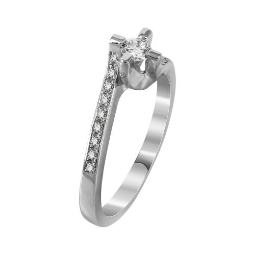 Μονόπετρο Δαχτυλίδι Με Διαμάντια Brilliant Από Λευκόχρυσο Κ18 DDX241