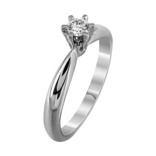 Μονόπετρο Δαχτυλίδι Με Διαμάντια Brilliant Από Λευκόχρυσο Κ18 DDX239