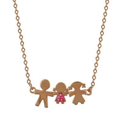Κολιέ Οικογένεια Από Ροζ Επιχρυσωμένο Ασήμι KL693