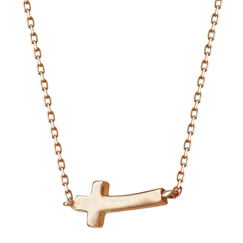 Κολιέ Με Σταυρουδάκι Από Ροζ Χρυσό Κ14 KL92268