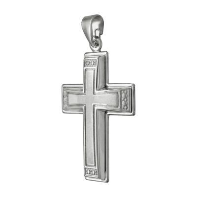 Σταυρός Βάπτισης Ανδρικός Σε Λευκόχρυσο K9 Καρατίων ST2491