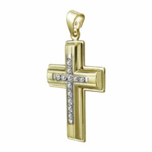 Σταυρός Βάπτισης Γυναικείος Σε Δίχρωμο Χρυσό K9 Καρατίων Με Πέτρες ST2493