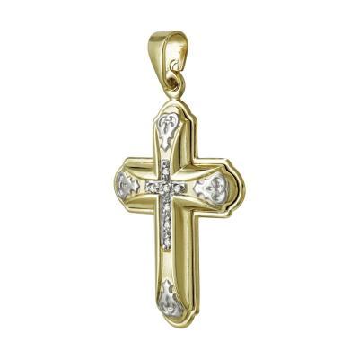 Σταυρός Βάπτισης Γυναικείος Σε Δίχρωμο Χρυσό K9 Καρατίων Με Πέτρες ST2497