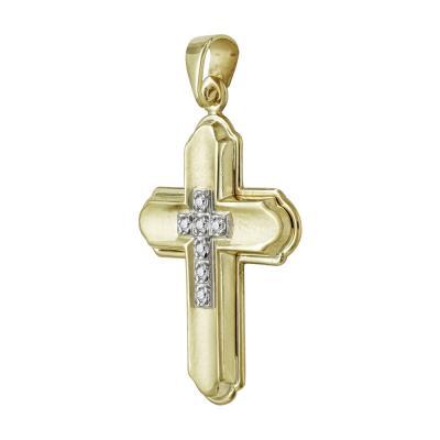 Σταυρός Βάπτισης Γυναικείος Σε Δίχρωμο Χρυσό K9 Καρατίων Με Πέτρες ST2498