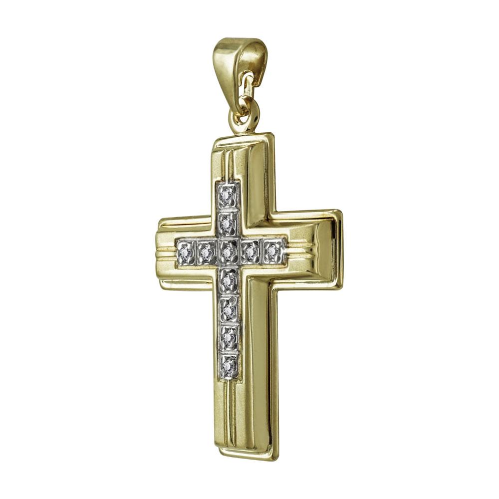 Σταυρός Βάπτισης Γυναικείος Σε Δίχρωμο Χρυσό K9 Καρατίων Με Πέτρες ST2499