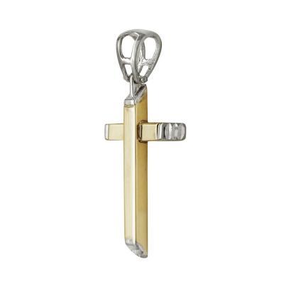 Σταυρός Βάπτισης Ανδρικός Σε Δίχρωμο Χρυσό 14 Καρατίων ST2503