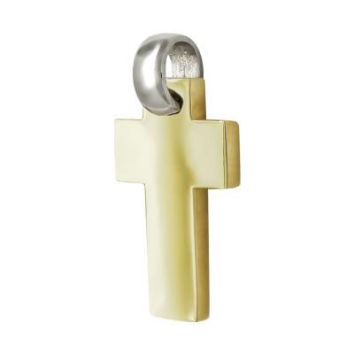 Σταυρός Βάπτισης Ανδρικός Σε Δίχρωμο Χρυσό 14 Καρατίων ST2504