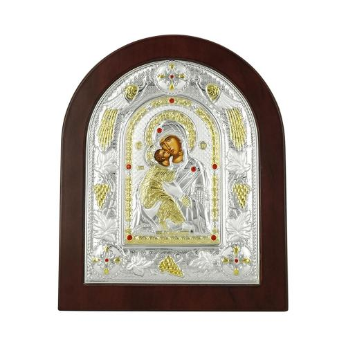 Εικόνα με την Παναγία με Επίχρυσες Λεπτομέρειες σε Καφέ Ξύλο Από Ασήμι MA/E3110BX