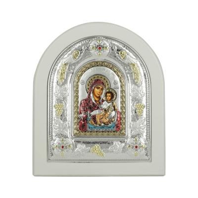Εικόνα με την Παναγία με Επίχρυσες Λεπτομέρειες σε Λευκό Ξύλο Από Ασήμι MA/E3102WH-DXC
