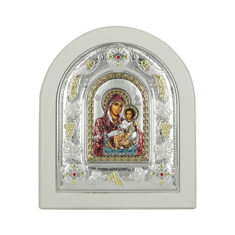 Εικόνα με την Παναγία με Επίχρυσες Λεπτομέρειες σε Λευκό Ξύλο Από Ασήμι RMA/E3102WH-DXC