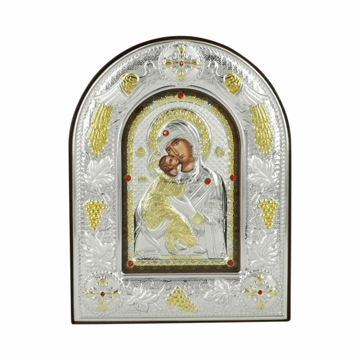Εικόνα με την Παναγία με Επίχρυσες Λεπτομέρειες σε Καφέ Ξύλο Από Ασήμι MA/E3110BX-K
