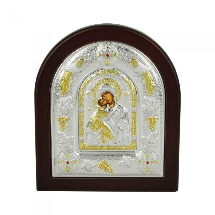 Εικόνα με την Παναγία με Επίχρυσες Λεπτομέρειες σε Καφέ Ξύλο Από Ασήμι MA/E3110DX