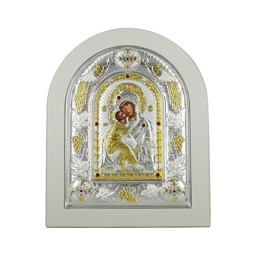 Εικόνα με την Παναγία με Επίχρυσες Λεπτομέρειες σε Λευκό Ξύλο Από Ασήμι MA/E3110WH-BX