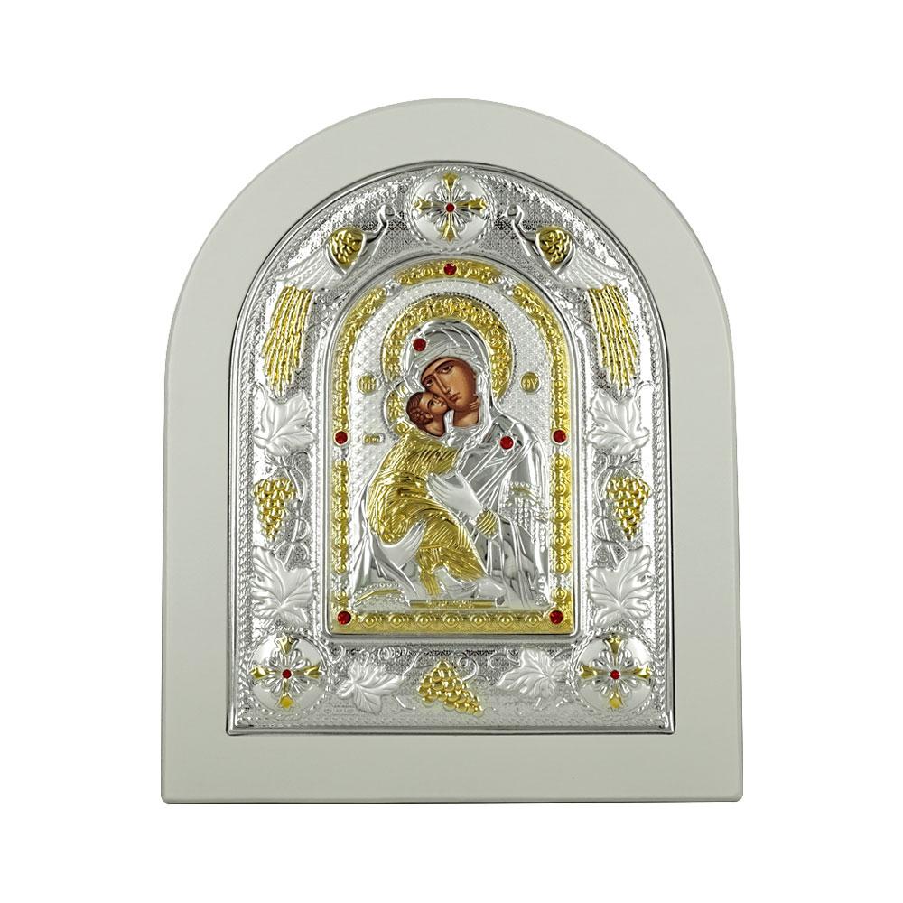 Εικόνα με την Παναγία με Επίχρυσες Λεπτομέρειες σε Λευκό Ξύλο Από Ασήμι RMA/E3110WH-BX