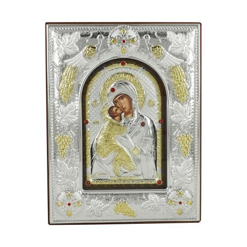 Εικόνα με την Παναγία με Επίχρυσες Λεπτομέρειες σε Καφέ Ξύλο Από Ασήμι MA/E3510BX-K