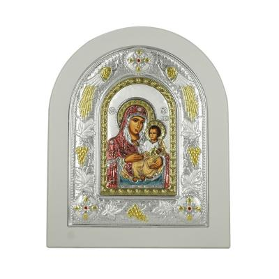 Εικόνα με την Παναγία με Επίχρυσες Λεπτομέρειες σε Λευκό Ξύλο Από Ασήμι MA/E3102WH-BXC