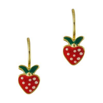 Παιδικά Σκουλαρίκια Με Φράουλα Από Επιχρυσωμένο Ασήμι PSK359
