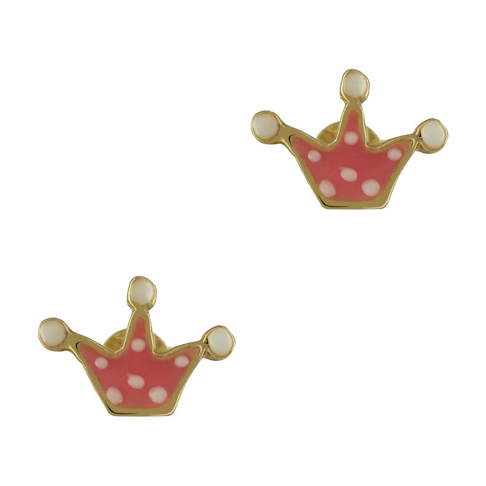 Παιδικά Σκουλαρίκια Με Κορώνα Από Επιχρυσωμένο Ασήμι PSK369