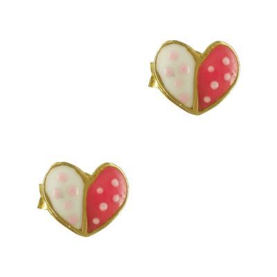 Παιδικά Σκουλαρίκια Με Καρδούλα Από Επιχρυσωμένο Ασήμι PSK376