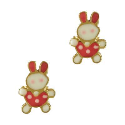 Παιδικά Σκουλαρίκια Με Αρκουδάκι Από Επιχρυσωμένο Ασήμι PSK377