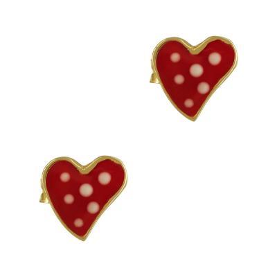 Παιδικά Σκουλαρίκια Με Καρδούλα Από Επιχρυσωμένο Ασήμι PSK380