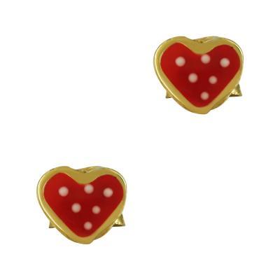 Παιδικά Σκουλαρίκια Με Καρδούλα Από Επιχρυσωμένο Ασήμι PSK381