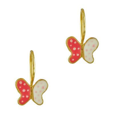 Παιδικά Σκουλαρίκια Με Πεταλούδα Από Επιχρυσωμένο Ασήμι PSK358