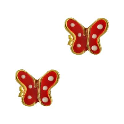 Παιδικά Σκουλαρίκια Με Πεταλούδα Από Επιχρυσωμένο Ασήμι PSK371