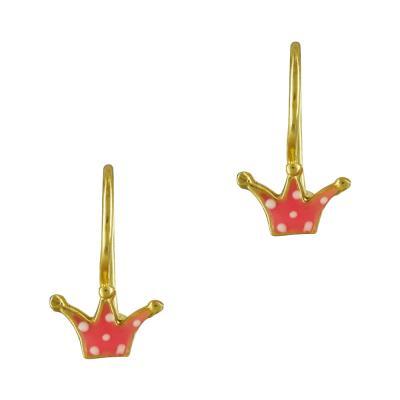 Παιδικά Σκουλαρίκια Με Κορώνα Από Επιχρυσωμένο Ασήμι PSK362