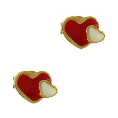 Παιδικά Σκουλαρίκια Με Καρδούλα Από Επιχρυσωμένο Ασήμι PSK372