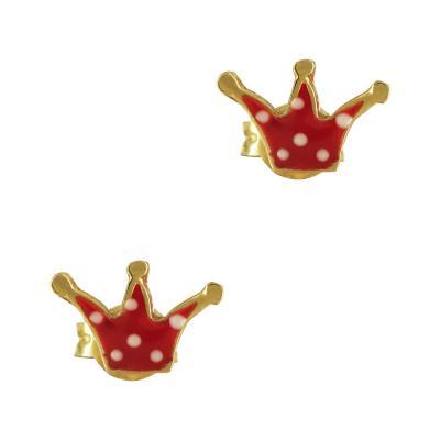 Παιδικά Σκουλαρίκια Με Κορώνα Από Επιχρυσωμένο Ασήμι PSK374